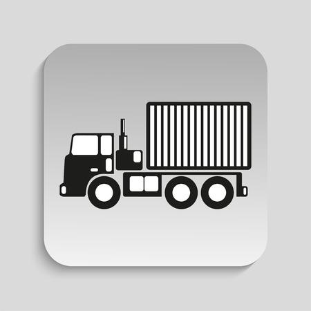 hauler: Truck. Black vector icon Illustration