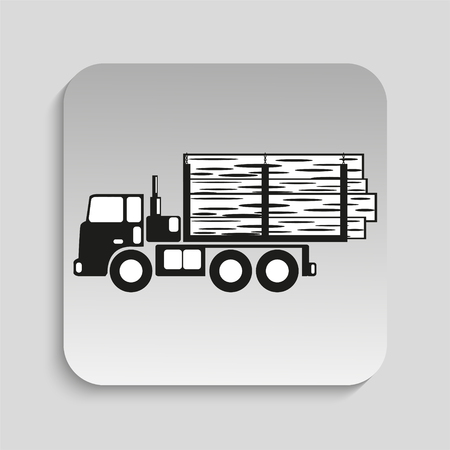 truckload: Truck. Black vector icon Illustration
