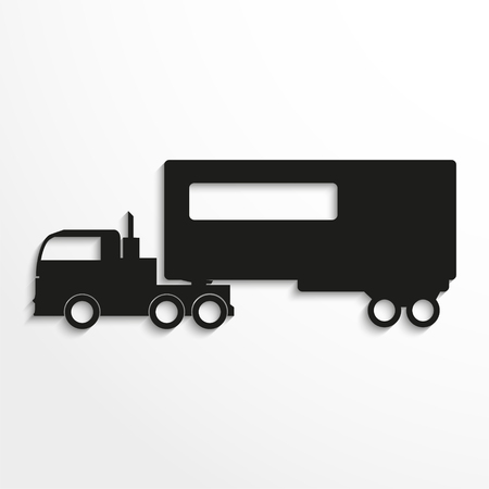 hauler: Truck with trailer. Black vector icon
