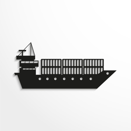 water carrier: Cargo Container Ship. Black vector icon