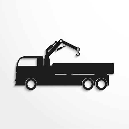 Truck with crane. Black vector icon