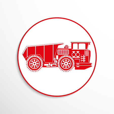 hauler: Heavy truck. Vector icon.