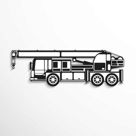 consignment: Heavy crane. Vector icon.