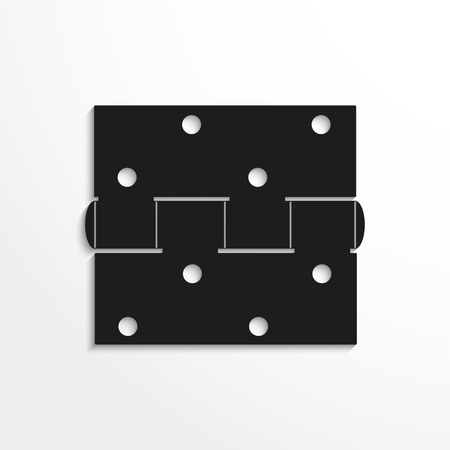 hinges: Hinge. Vector illustration. Black and white view.