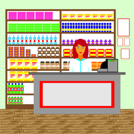 salesman: Salesman in the store. Vector illustration. Illustration