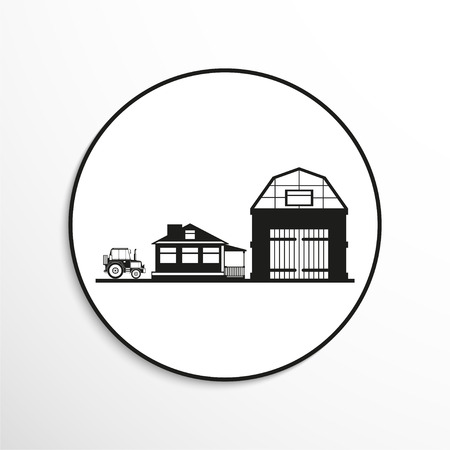 pitched roof: Private house, a barn and a tractor. Vector icon.