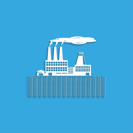The factory on the riverbank. Symbol. Vector icon. Illustration