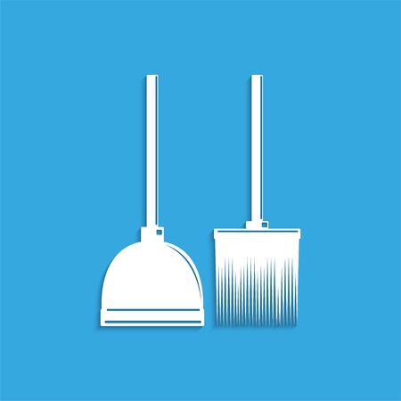 wooden stick: Broom and dustpan. Symbol. Vector icon. Illustration