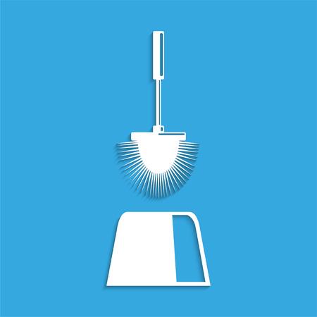 toilet brush: Toilet brush. Symbol. Vector icon. Illustration