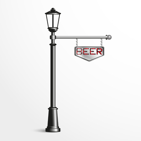 sign post: Street post with a sign. Vector illustration. Illustration