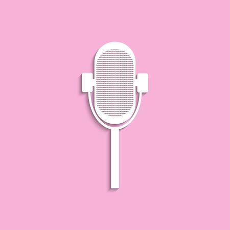 microfono antiguo: Micrófono viejo. Icono del vector.