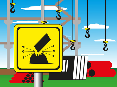 oxidant: Construction site with a warning sign. Vector illustration. Welding works. Illustration
