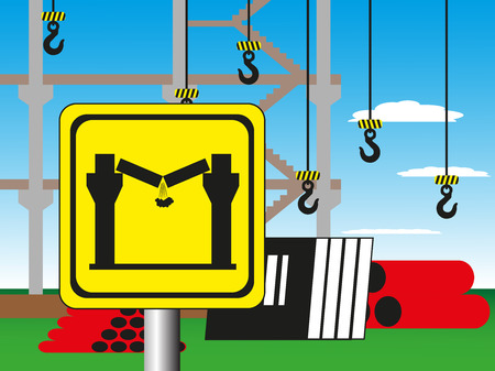 deeply: Construction site with a warning sign. Vector illustration. Welding works. Illustration