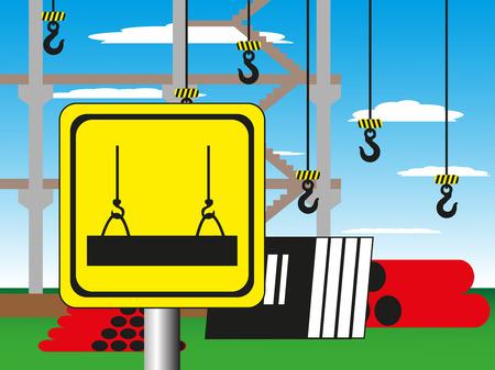 riesgo biologico: Obras de construcción con una señal de advertencia. Ilustración del vector. Trabajos de soldadura.