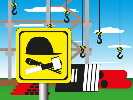 fiambres: Construction site with a warning sign. Vector illustration. Welding works. Vectores