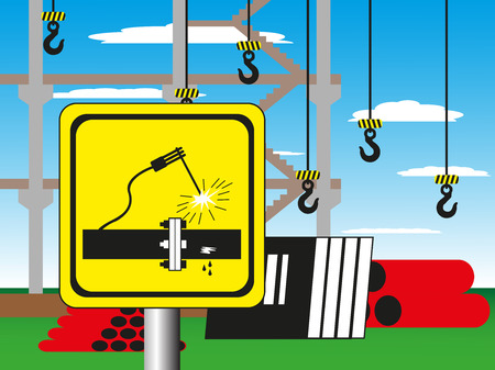 caustic: Construction site with a warning sign. Vector illustration. Welding works. Illustration
