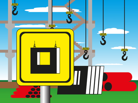 Construction site with a warning sign. Vector illustration. Welding works. Illustration