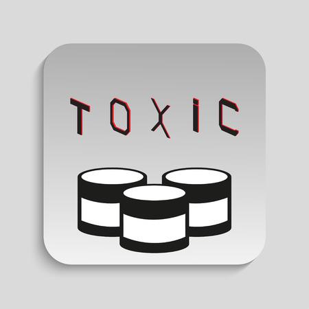 radioactive tank and warning sign: Toxic waste. Vector icon. Illustration