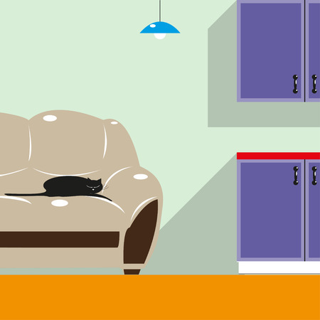 cold room: A cat in the house. Color vector illustration. Background.