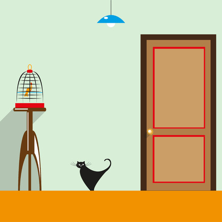 interior cell: A cat in the house. Color vector illustration. Background.