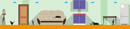 gentleness: A cat in the house. Color vector illustration. Background.