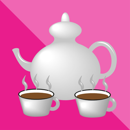 meat grinder: Teapot and teacups. Kitchen utensils and equipment. Vector icon. Illustration