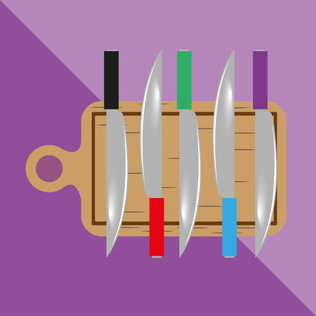 cutting boards: Cutting boards and knives. Kitchen utensils and equipment. Vector icon. Illustration
