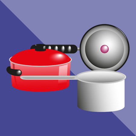 pans: Pans, pots and a kitchen ladle. Kitchen utensils and equipment. Vector icon. Illustration
