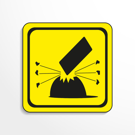 oxidant: Danger sign. Falling objects. Vector icon.