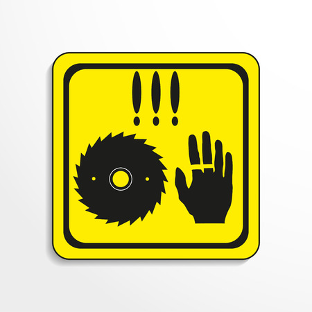 alerting: Danger sign. Circular saw. Vector icon.