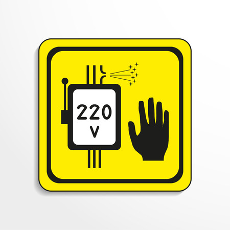 explosive gas: Danger sign. High voltage. Vector icon. Illustration