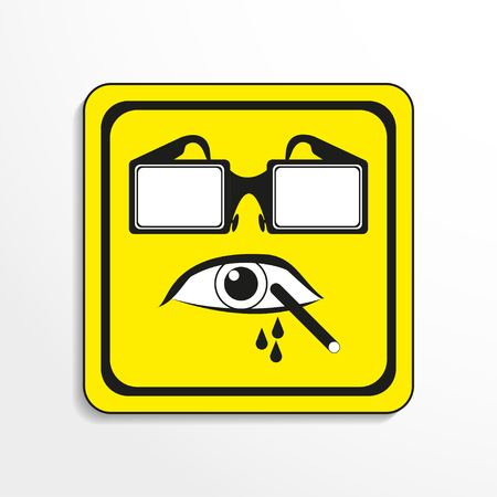 alerting: Danger sign. Eye protection. Vector icon.