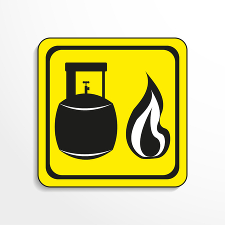 caustic: Danger sign. Open flame. Vector icon.