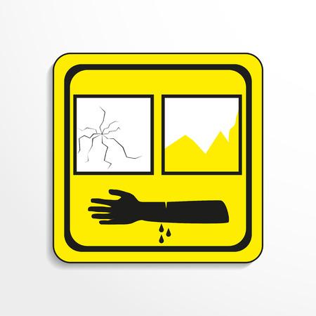 caustic: Danger sign. Broken glass. Vector icon.