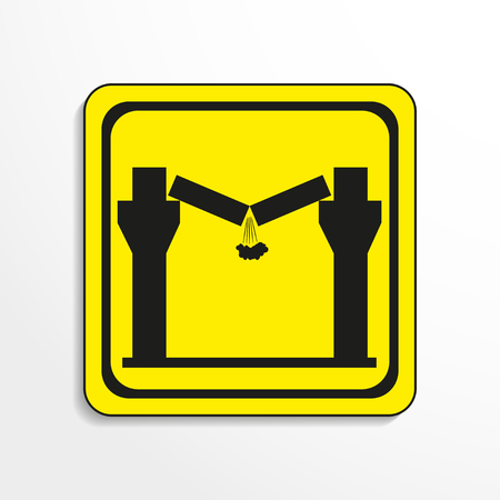 rockfall: Danger sign. The collapse of the ceiling. Vector icon. Illustration