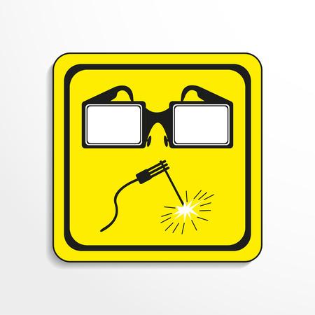 Danger sign. Welding works. Vector icon.