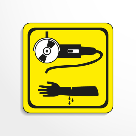 Danger sign. Cutting work. Vector icon.