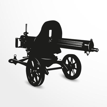 the trench: Maxim machine gun. Vector illustration. Black and white view.