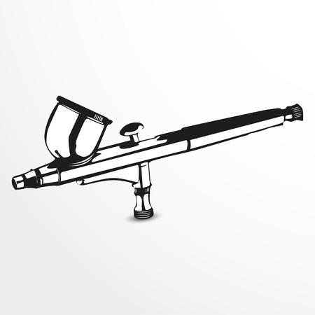 Aerógrafo. Ilustración del vector. Vista en blanco y negro. Ilustración de vector
