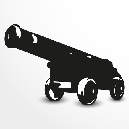 Old cannon. Vector illustration. Black and white view.
