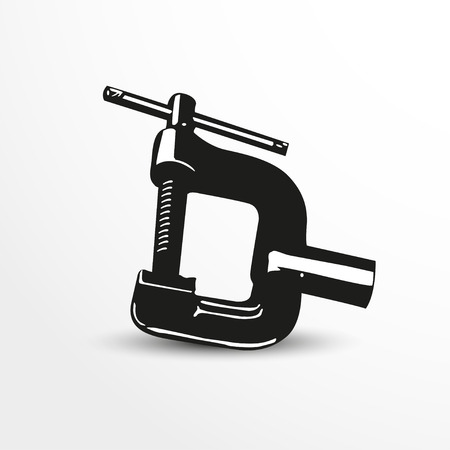 cast iron: Clamp. Vector illustration. Black and white view. Illustration