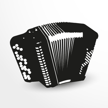 concertina: Accordion. Vector illustration. Black and white view.
