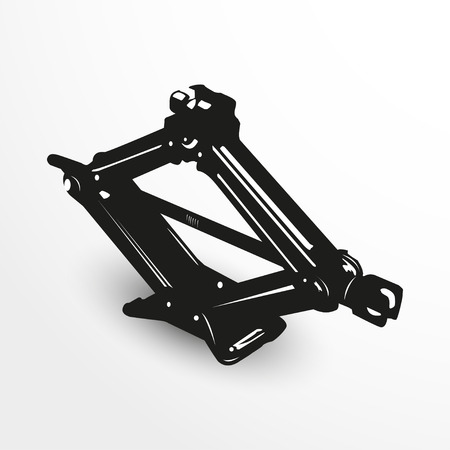 haul: Car jack. Vector illustration. Black and white view.