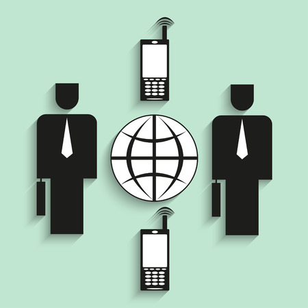mobile communications: The global mobile communications. Vector illustration.