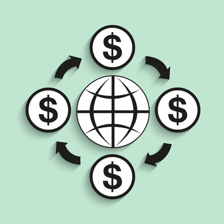economic cycle: Circulation of money in the world. Vector illustration.