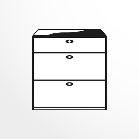Pieces of furniture. Linen drawers. Vector illustration.