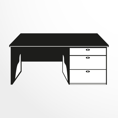 pieces of furniture: Pieces of furniture. Student table. Vector illustration.