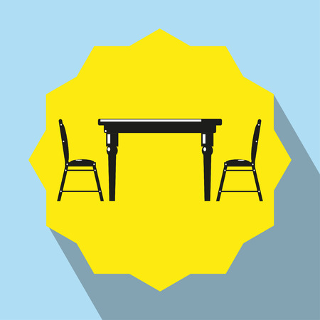 Pieces of furniture. Kitchen table and two chairs. Vector icon.