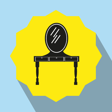 pieces of furniture: Pieces of furniture. Dressing table with mirror. Vector icon.