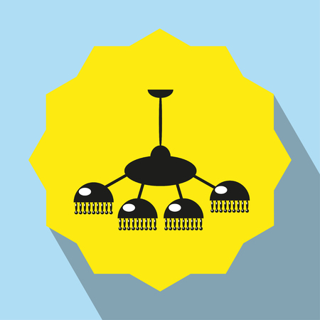 Pieces of furniture. Chandelier. Vector icon.